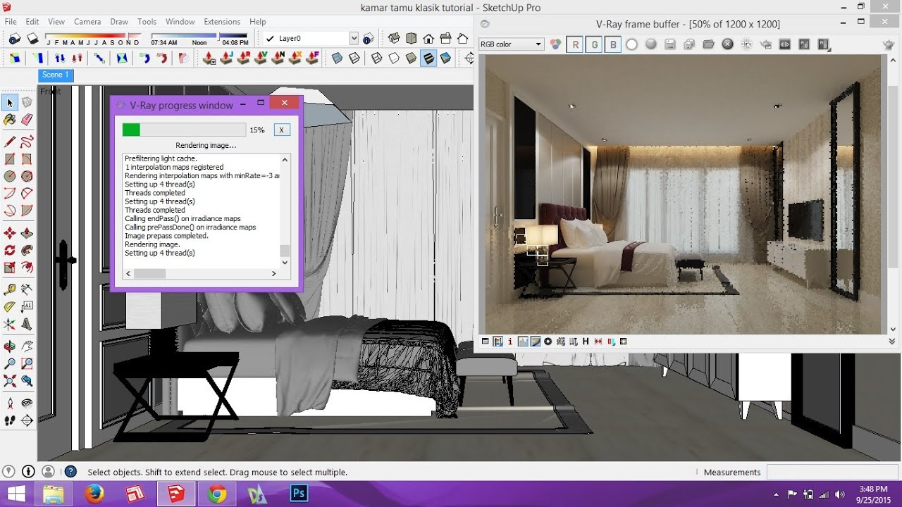 making of interior scene , vray sketchup - YouTube