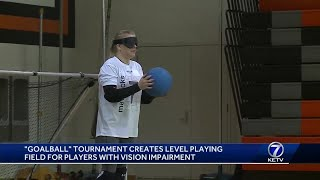 """Goalball"" tournament creates level playing field for players with vision impairment"