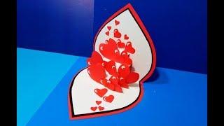 ❤ Красивый Подарок Своими Руками На День Святого Валентина Поделка 3д Открытка Валентинка-Сердце