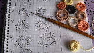 Вязание ирландских кружев для начинающих.  1. Основные элементы -  схемы.  4 часть