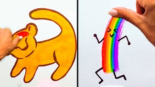 33 FUN DRAWING CHALLENGES! | Drawing hacks with cartoon characters and funny animals