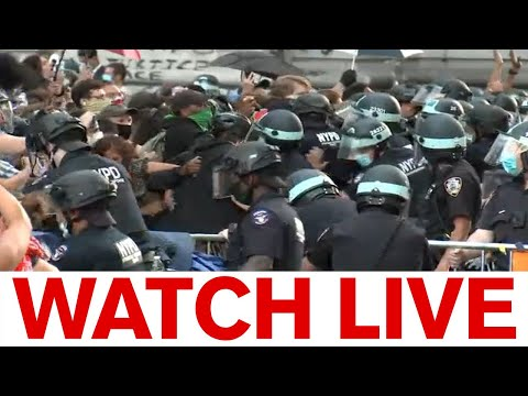 Protests outside NYC City Hall, clashes with police