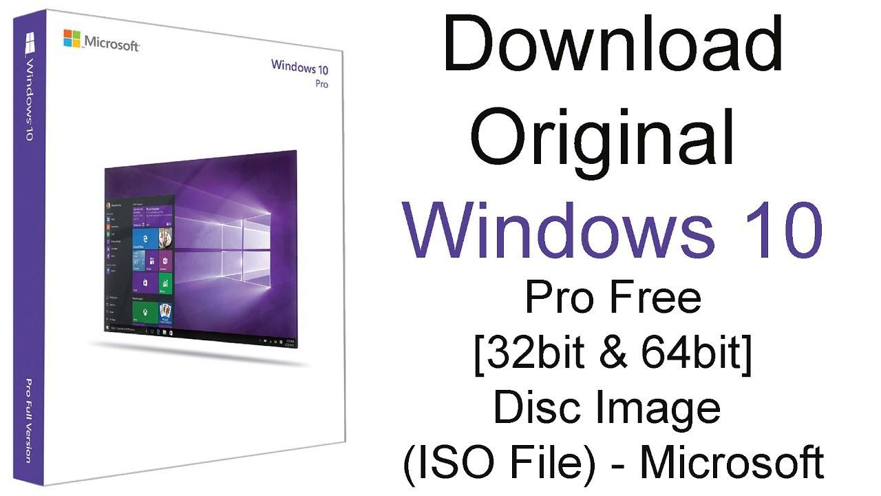 Download Original Windows 10 Pro Free 32bit 64bit Disc Image Iso File Microsoft Youtube Cute766