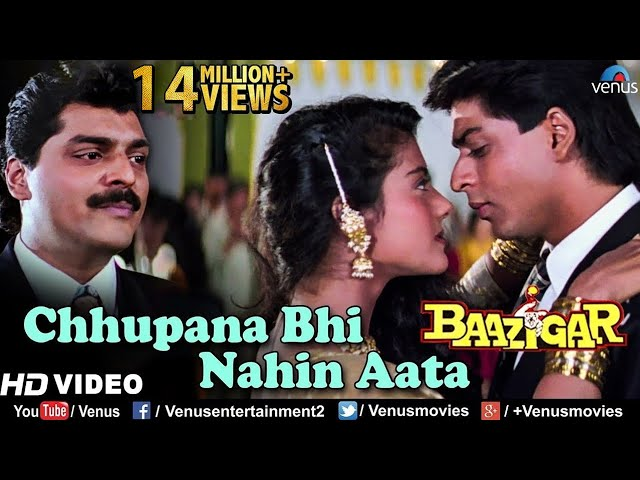 Chhupana Bhi Nahi Aata - HD VIDEO | Baazigar | Shahrukh & Kajol | Vinod Rathod | 90's Romantic Song