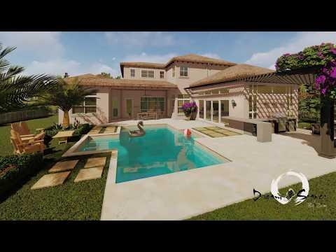 4K Backyard Landscape Design In South Florida (Parkland)