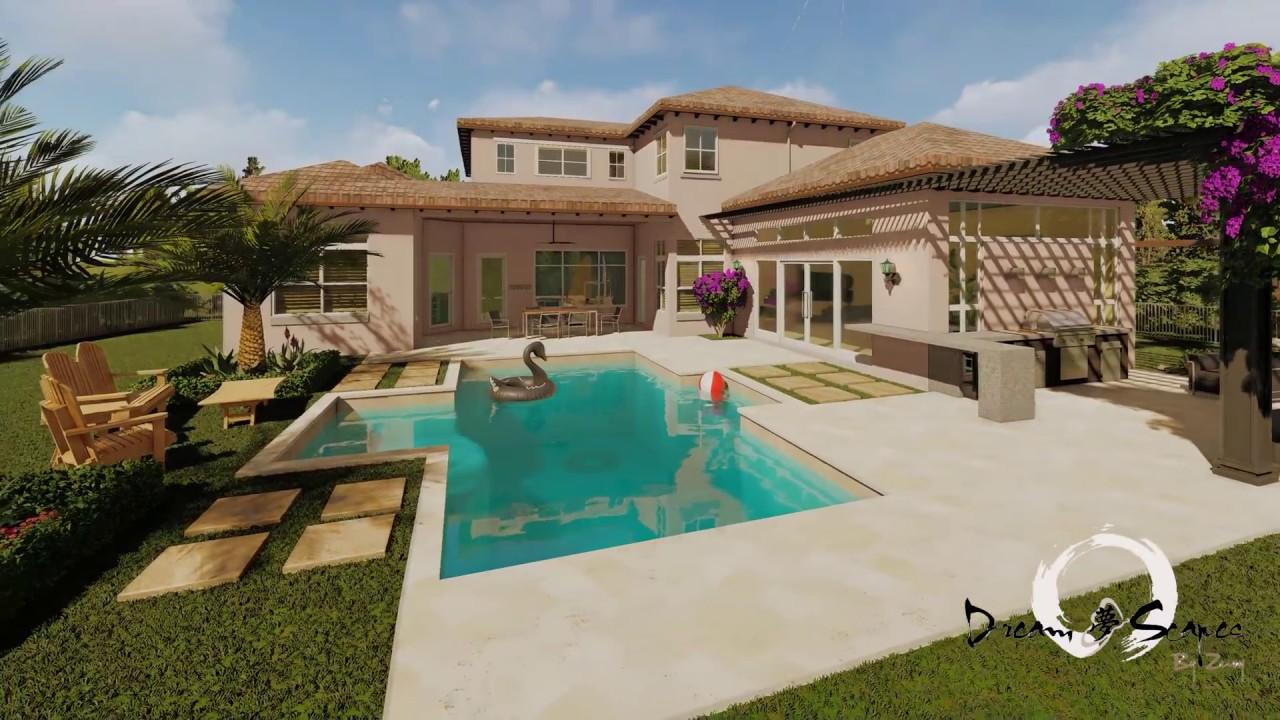 4k Backyard Landscape Design In South Florida Parkland Youtube