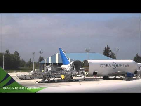 Boeing Dreamlifter landing and unloading