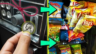 Will STRING On A Coin HACK ACTUALLY Work In A Vending Machine?!!