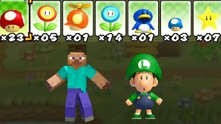 What happens when Steve and Baby Luigi uses Mario's Power-Ups? 2 Player Co-Op