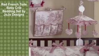 Red French Toile Baby Crib Bedding Set By Jojo Designs