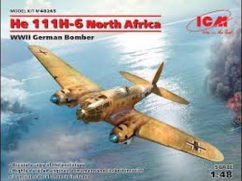 Обзор модели среднего бомбардировщика He 111H-6 North Africa фирмы ICM в 48 масштабе