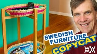Basket-tray side table. Knock-down knock-off design. Save money and build your own furniture! Thumbnail