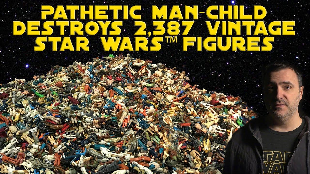 Rian Johnson Red Letter Media.Pathetic Man Child Destroys 2 387 Vintage Star Wars Figures