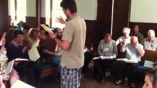 Oliver Kindig-Stokes leading 522 Ye Heedless Ones, Exeter All-Day Sacred Harp Singing 2014
