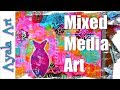 Abstract Paper Collages ideas | Fun and Easy collage making!  Pink Collab Mixed Media Re-Uploaded