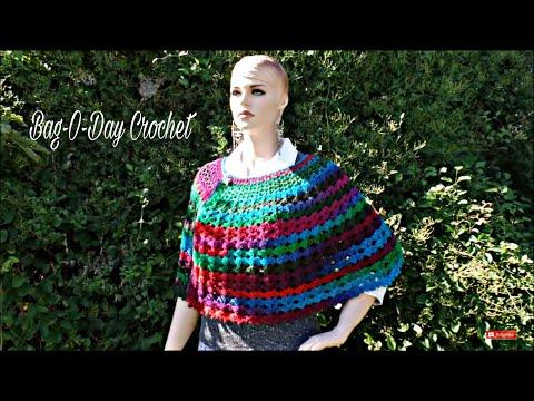 CROCHET How To #Crochet Easy Ladies V Stitch Shawl Cape Wrap TUTORIAL #346 LEARN CROCHET