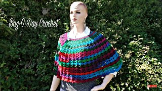CROCHET How To #Crochet Easy Ladies V Stitch Shawl Cape Wrap TUTORIAL #346 LEARN CROCHET DYI