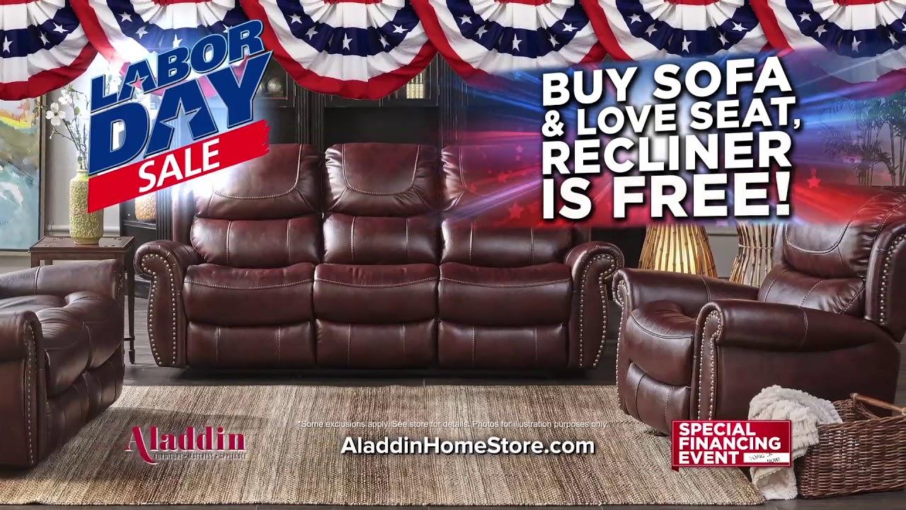 aladdin home store labor day furniture sale youtube. Black Bedroom Furniture Sets. Home Design Ideas