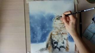 Картина акварелью Снежный кот. Speed painting