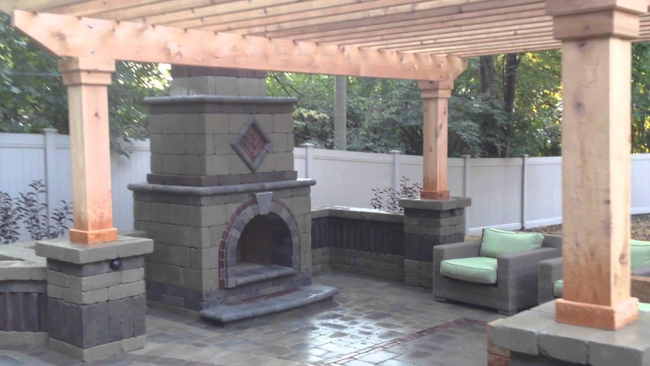Birmingham Michigan Outdoor Fireplace With A Cedar Pergola