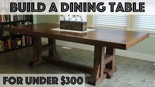 Learn how build a beautiful dining table from scratch, inspired by the Pottery Barn Stafford Reclaimed Pine Dining Table. Total cost: