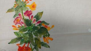 #분꽃그리기#꽃그림#천아트#광목에그리기#페브릭아트#섬유…