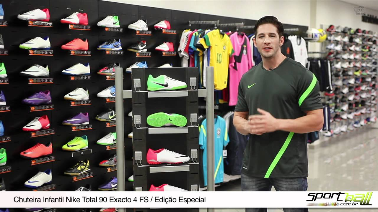 3a381ee414 Chuteira Infantil Nike Total 90 Exacto 4 FS - Sportball - YouTube