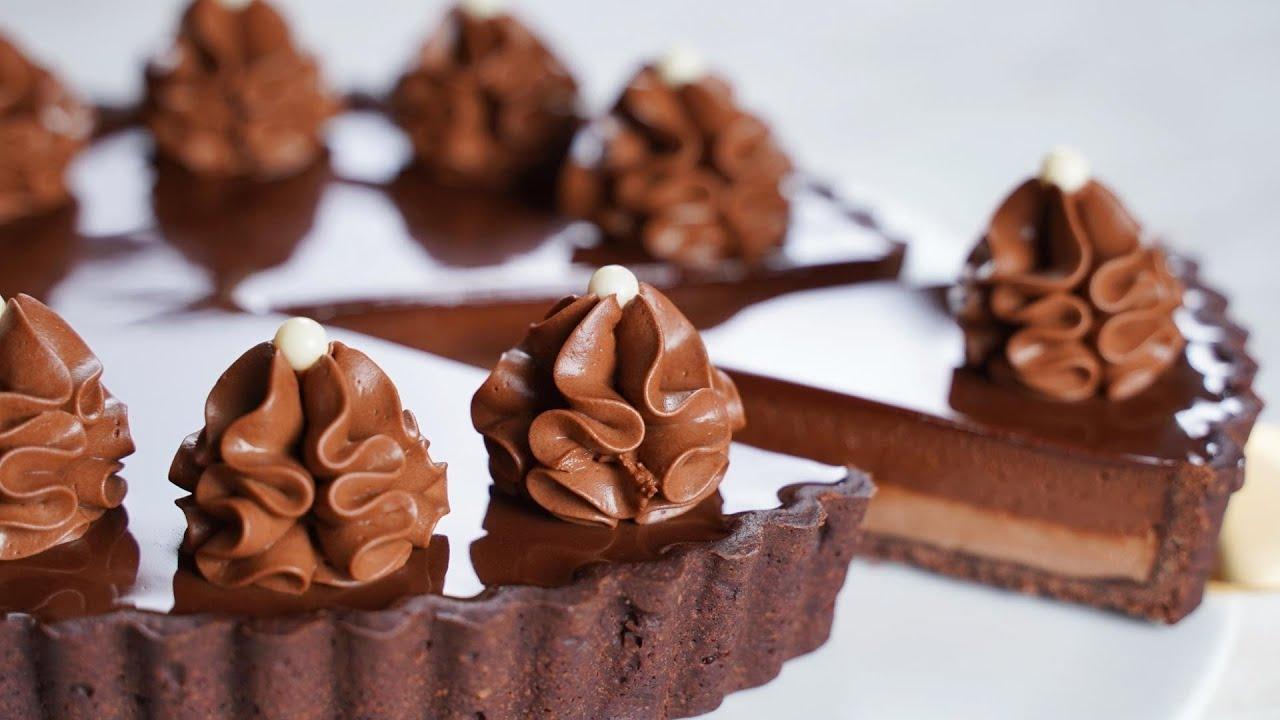 컵 계량 / 초코 무스 타르트 만들기 / Beautiful Chocolate Mousse Tart Recipe / Chocolate Tart
