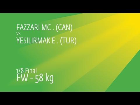 1/8 FW - 58 Kg: E. YESILIRMAK (TUR) Df. M. FAZZARI (CAN), 3-1