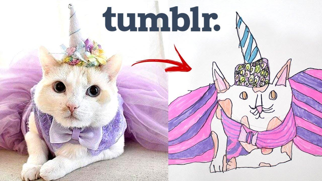 Imitando Fotos Tumblr Com Desenhos Gato Fofo Youtube