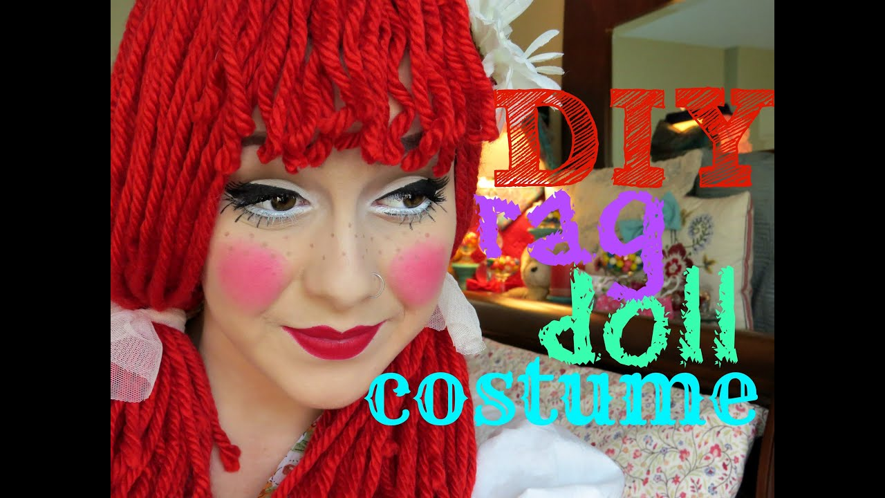 diy rag doll costume wig and makeup youtube - Red Wigs For Halloween