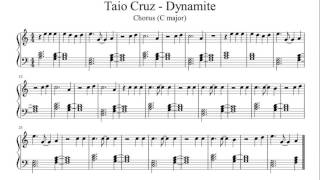 Download Dynamite - Taio Cruz (Chorus) - Easy Piano Sheet Music MP3 song and Music Video