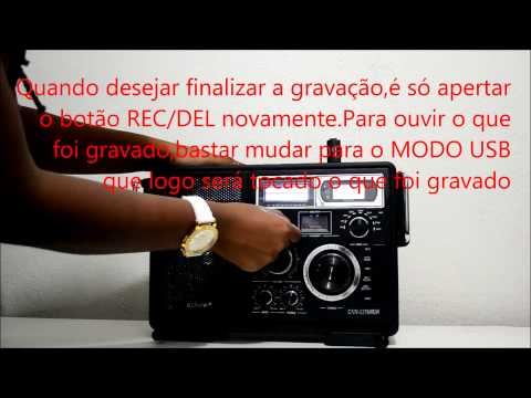 Caixa de Som Amplificador USB SD AM/FM MP3 Radio Gravador Audio Microfone Voz