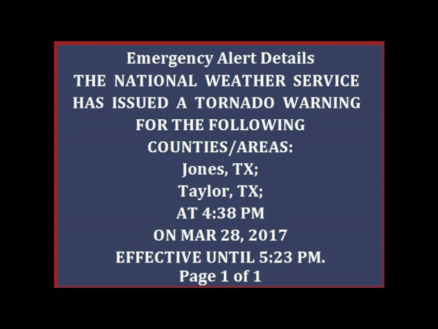 Tornado Warning EAS: Abilene, TX