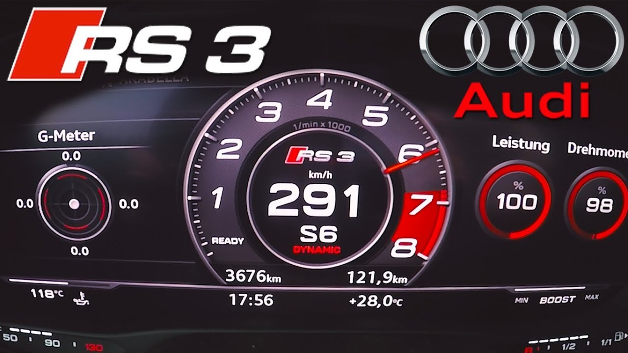 2018 Audi Rs3 0 290kmh Top Speed Acceleration Test Youtube