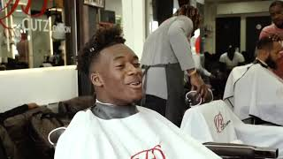Raheem Sterling and Callum Hudson-Odoi enjoying a day at HDCutz London