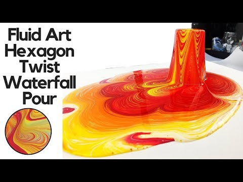 Hexagon Twist WATERFALL POUR with a HIDDEN Dirty Flip Cup, Fluid Art