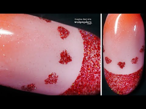 Nail art red french heart glitter design with reusable stencil and gel polish. Easy how to tutorial