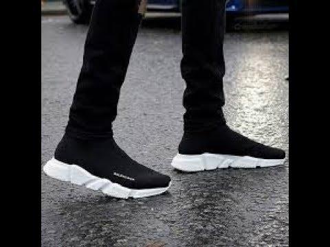balenciaga speed trainer all black on feet