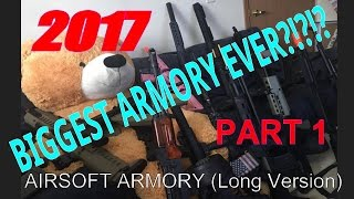 BIGGEST ARMORY ON YOUTUBE? 40+ gun GIANT Airsoft armory (LONG VERSION) PART 1