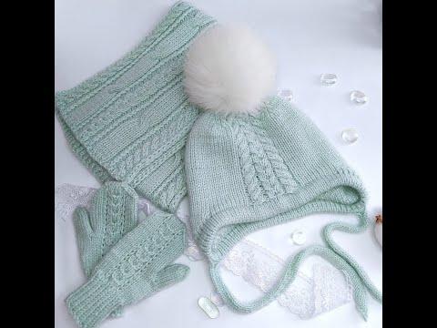 Шапка с ушками для девочки спицами на зиму с ушками