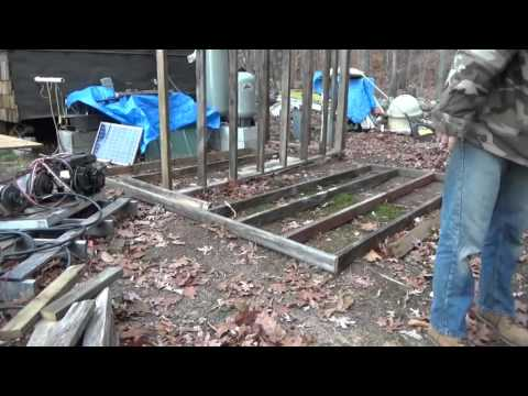Framing Last Wall Of Off Grid Battery & Water Shed