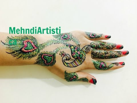 Realistic Peacock Henna Mehndi Designs For Hands:Party Glitter Mehendi By MehndiArtistica Tutorials