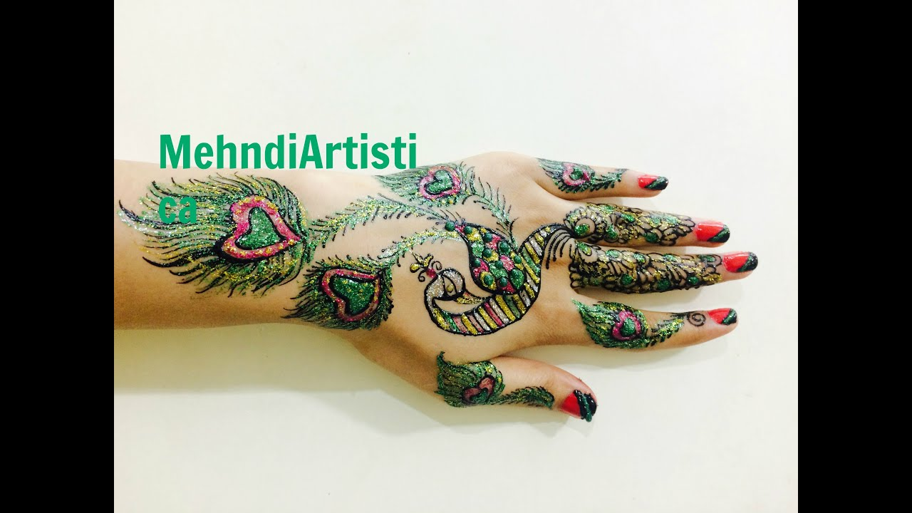 Mehndi Party Saree : Realistic peacock henna mehndi designs for hands party glitter