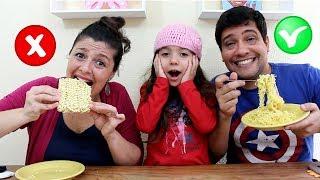 COMIDA CRUA VS COZIDA - CHALLENGE  - Anny e Eu