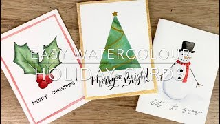 Easy Watercolour Holiday Cards In Under 6 Minutes!