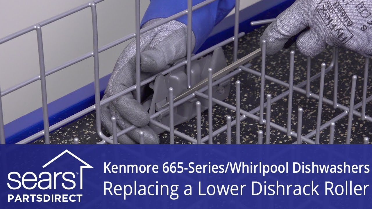 Replacing a lower dishrack roller on Kenmore 665-series and