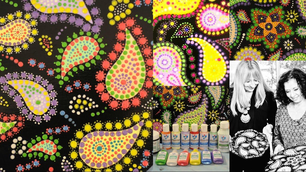 Platos De Madera Decorados Puntillismo Dimensionales Color