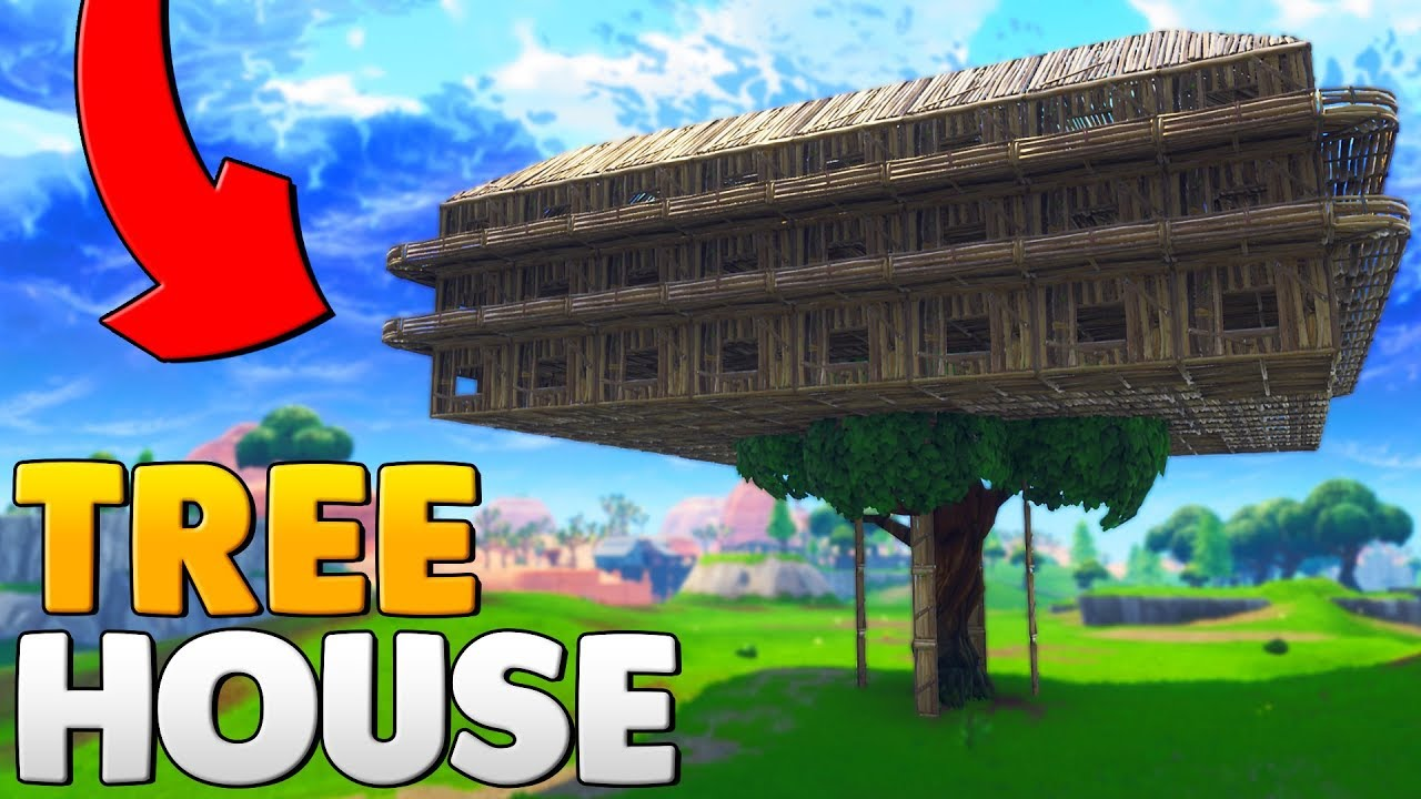 BUILDING A WORLD RECORD TREE HOUSE   Fortnite Battle Royale - YouTube