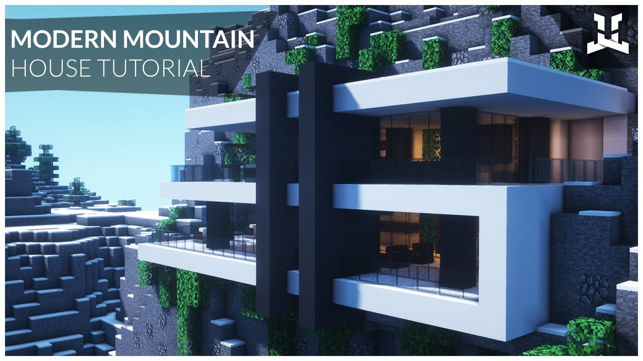 Minecraft: MODERN MOUNTAIN HOUSE (How to Build: Relaxing Tutorial)